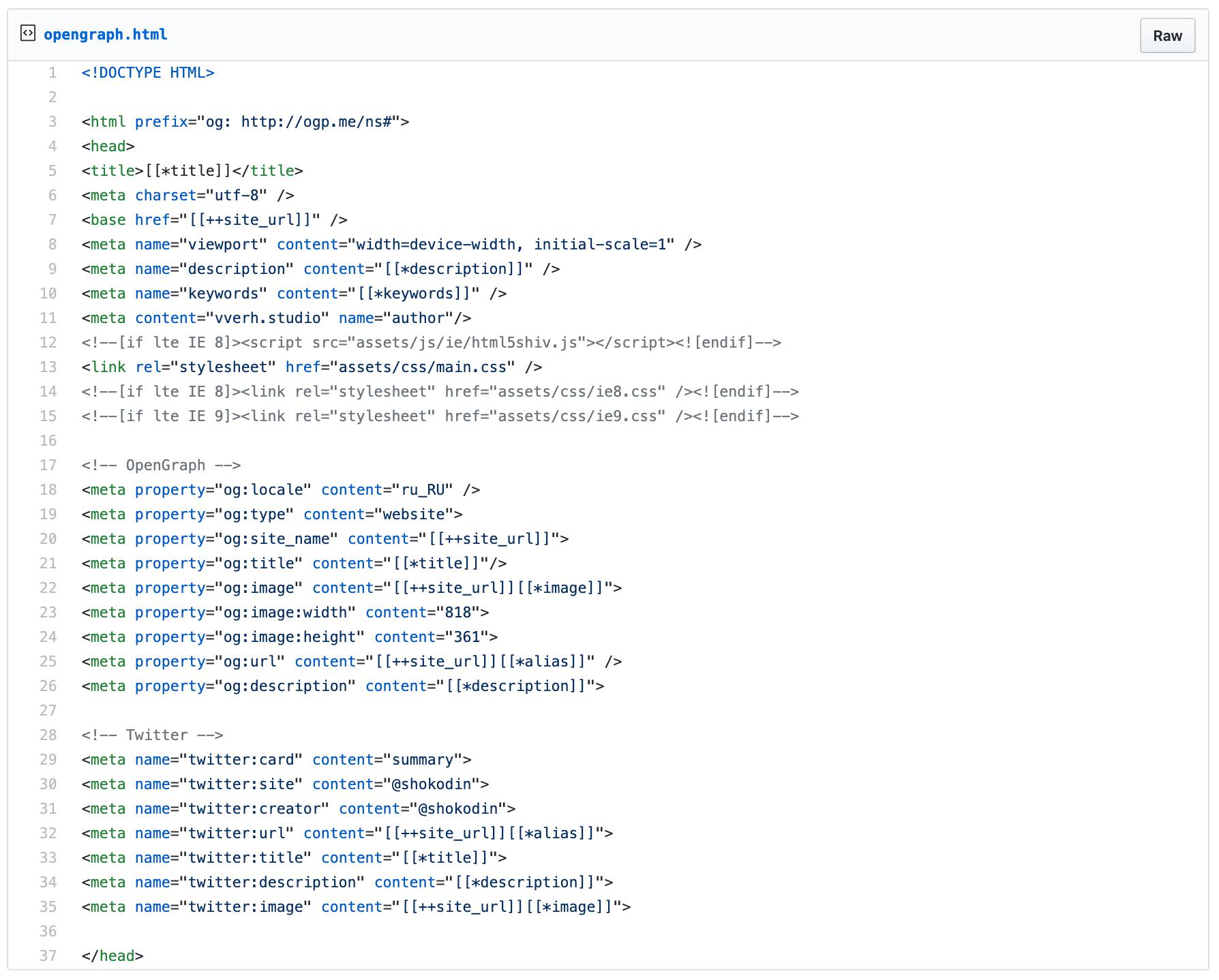 пример кода open graph